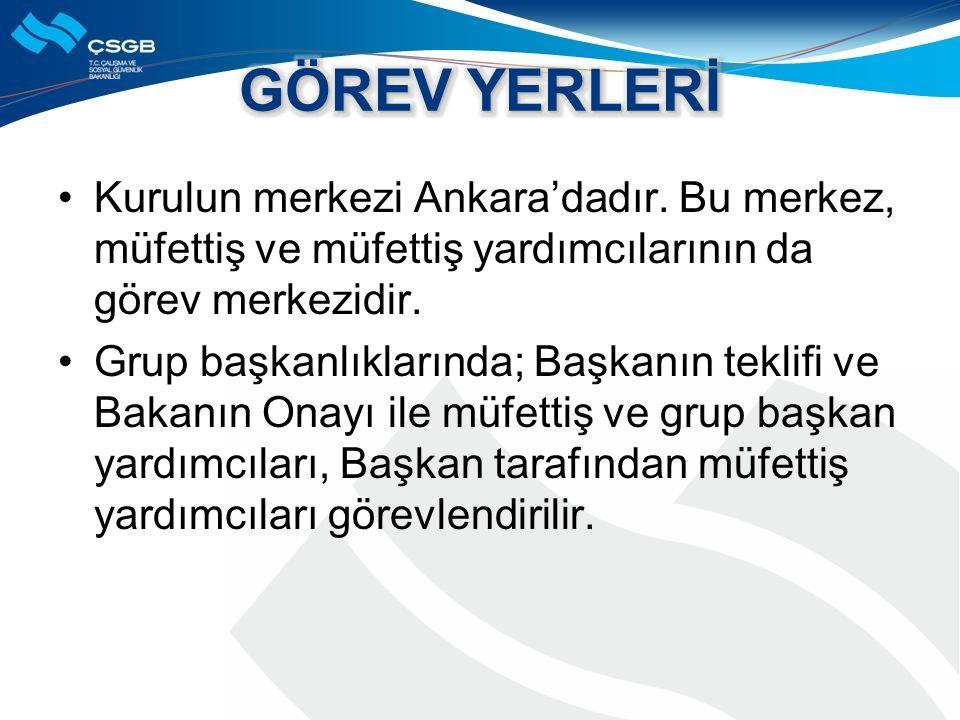 Kurulun merkezi Ankara'dadır. Bu merkez, müfettiş ve müfettiş yardımcılarının da görev merkezidir.