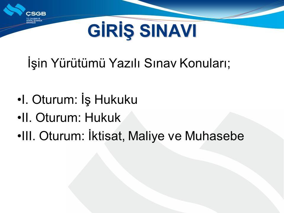 GİRİŞ SINAVI İşin Yürütümü Yazılı Sınav Konuları; I.