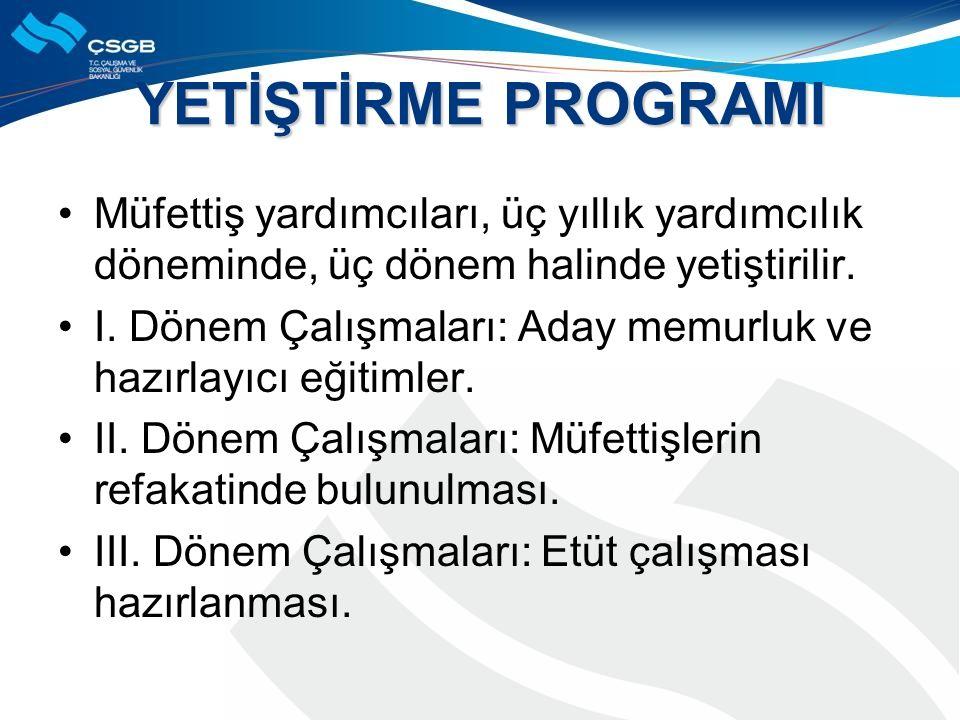 YETİŞTİRME PROGRAMI Müfettiş yardımcıları, üç yıllık yardımcılık döneminde, üç dönem halinde yetiştirilir.