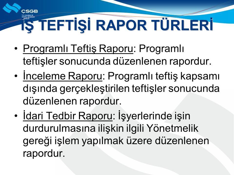 İŞ TEFTİŞİ RAPOR TÜRLERİ Programlı Teftiş Raporu: Programlı teftişler sonucunda düzenlenen rapordur.