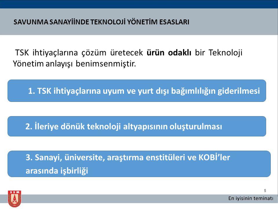 5 TSK ihtiyaçlarına çözüm üretecek ürün odaklı bir Teknoloji Yönetim anlayışı benimsenmiştir.