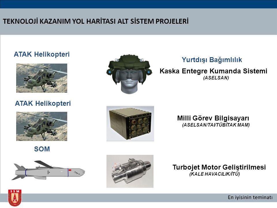 SOM Turbojet Motor Geliştirilmesi (KALE HAVACILIK/İTÜ) Yurtdışı Bağımlılık TEKNOLOJİ KAZANIM YOL HARİTASI ALT SİSTEM PROJELERİ Kaska Entegre Kumanda Sistemi (ASELSAN) ATAK Helikopteri Milli Görev Bilgisayarı (ASELSAN/TAI/TÜBİTAK MAM)