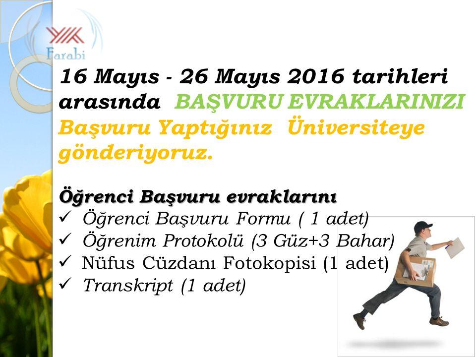 Öğrenci Başvuru evraklarını Öğrenci Başvuru Formu ( 1 adet) Öğrenim Protokolü (3 Güz+3 Bahar) Nüfus Cüzdanı Fotokopisi (1 adet) Transkript (1 adet) 16