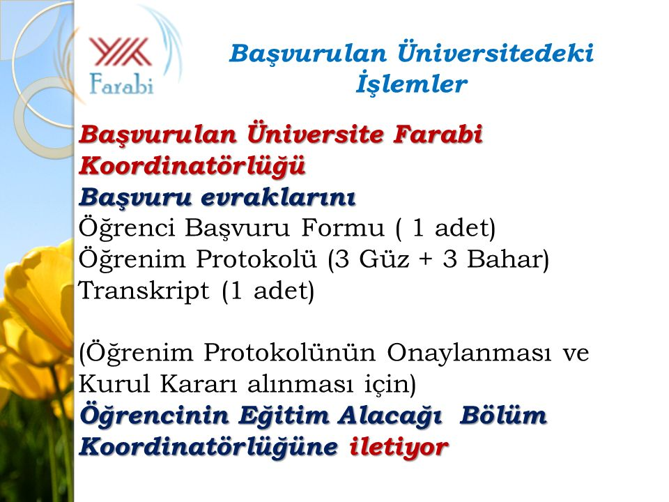 Başvurulan Üniversite Farabi Koordinatörlüğü Başvuru evraklarını Öğrenci Başvuru Formu ( 1 adet) Öğrenim Protokolü (3 Güz + 3 Bahar) Transkript (1 ade