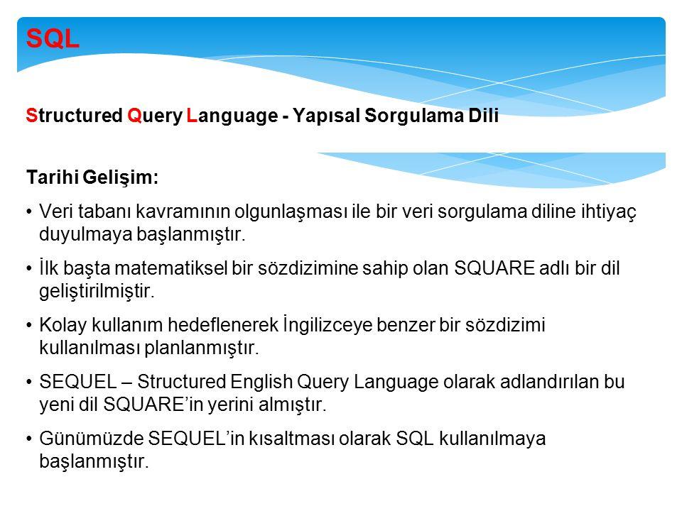 SQL Structured Query Language - Yapısal Sorgulama Dili Tarihi Gelişim: Veri tabanı kavramının olgunlaşması ile bir veri sorgulama diline ihtiyaç duyulmaya başlanmıştır.
