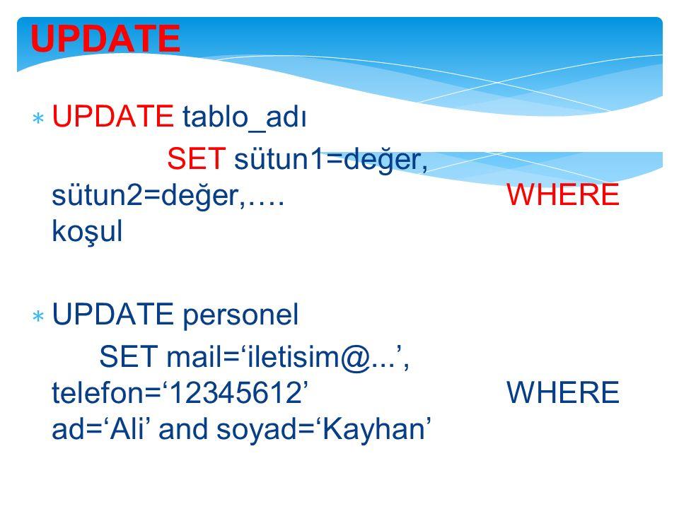 UPDATE ∗ UPDATE tablo_adı SET sütun1=değer, sütun2=değer,…. WHERE koşul ∗ UPDATE personel SET mail='iletisim@...', telefon='12345612' WHERE ad='Ali' a