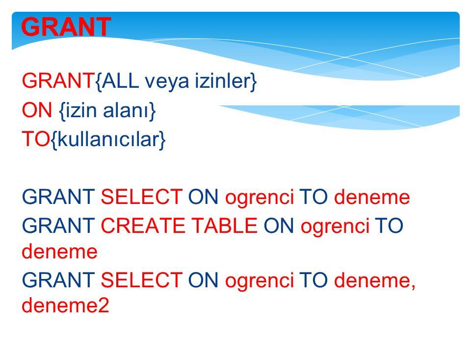 GRANT GRANT{ALL veya izinler} ON {izin alanı} TO{kullanıcılar} GRANT SELECT ON ogrenci TO deneme GRANT CREATE TABLE ON ogrenci TO deneme GRANT SELECT ON ogrenci TO deneme, deneme2