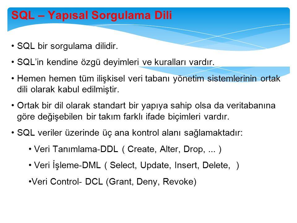SQL – Yapısal Sorgulama Dili SQL bir sorgulama dilidir. SQL'in kendine özgü deyimleri ve kuralları vardır. Hemen hemen tüm ilişkisel veri tabanı yönet