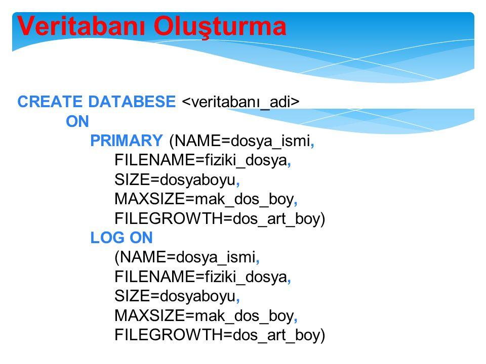 Veritabanı Oluşturma CREATE DATABESE okul ON (NAME=okul_dat, FILENAME=c:\okuldat.mdf, SIZE=10, MAXSIZE=50, FILEGROWTH=5) LOG ON (NAME=okul_log, FILENAME=c:\okullog.ldf, SIZE=5MB, MAXSIZE=25MB, FILEGROWTH=5 MB)