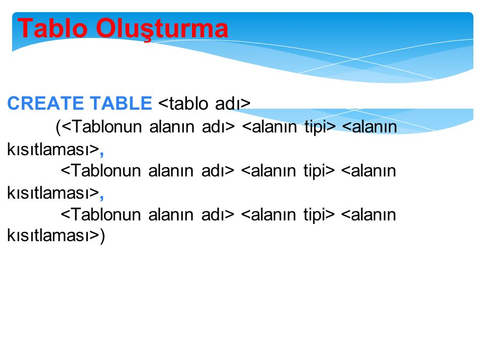 Tablo Oluşturma CREATE TABLE (,, )