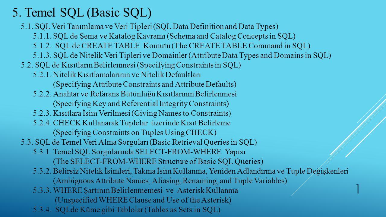 5. Temel SQL (Basic SQL) 5.1. SQL Veri Tanımlama ve Veri Tipleri (SQL Data Definition and Data Types) 5.1.1. SQL de Şema ve Katalog Kavramı (Schema an