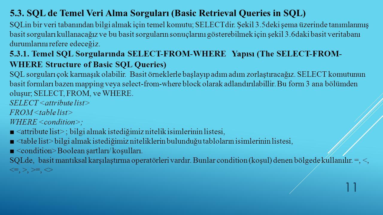 11 5.3. SQL de Temel Veri Alma Sorguları (Basic Retrieval Queries in SQL) SQLin bir veri tabanından bilgi almak için temel komutu; SELECTdir. Şekil 3.