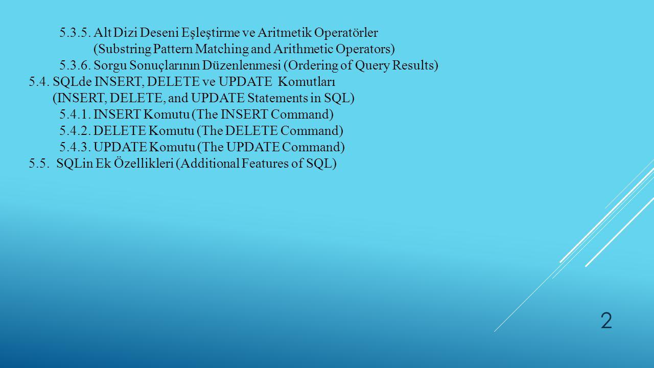 5.3.5. Alt Dizi Deseni Eşleştirme ve Aritmetik Operatörler (Substring Pattern Matching and Arithmetic Operators) 5.3.6. Sorgu Sonuçlarının Düzenlenmes