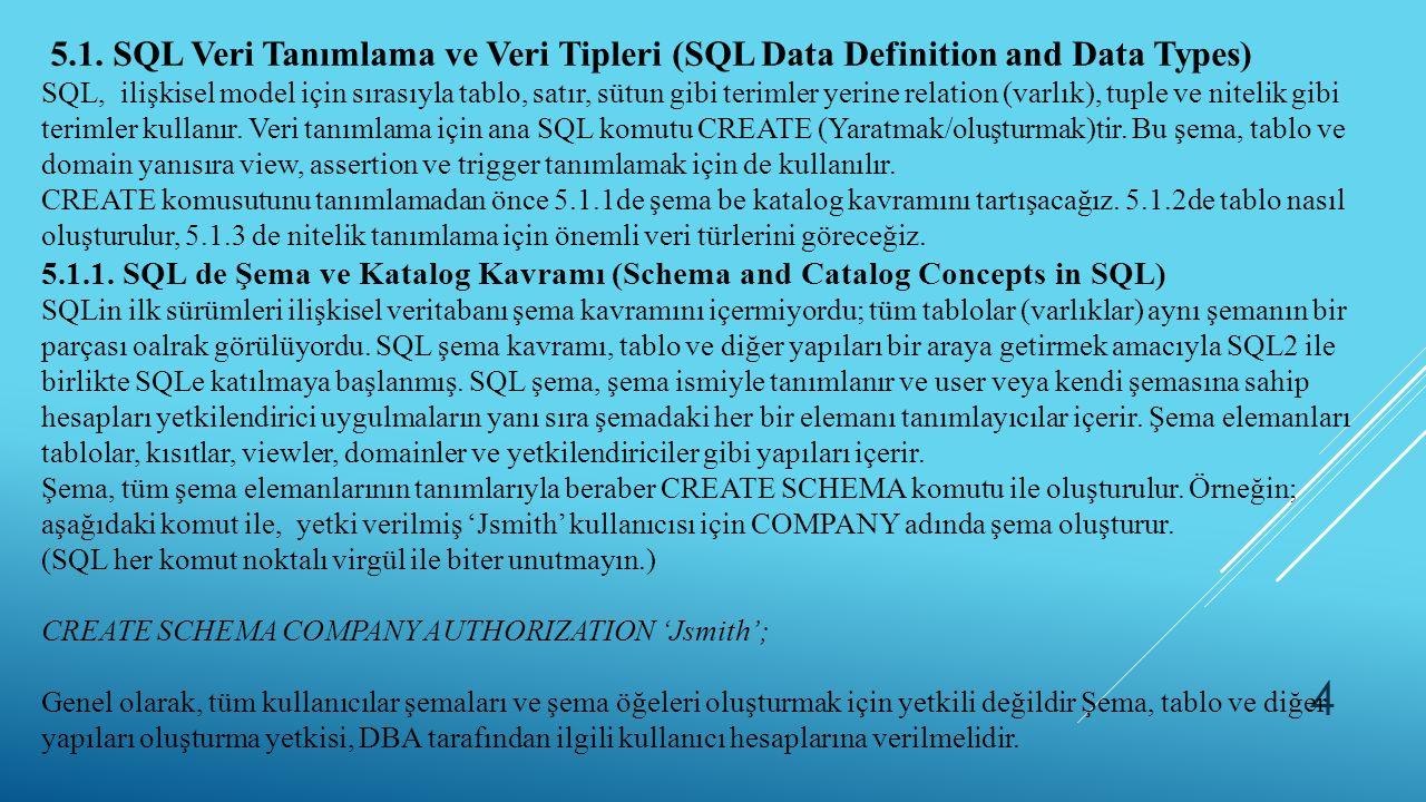 4 5.1. SQL Veri Tanımlama ve Veri Tipleri (SQL Data Definition and Data Types) SQL, ilişkisel model için sırasıyla tablo, satır, sütun gibi terimler y