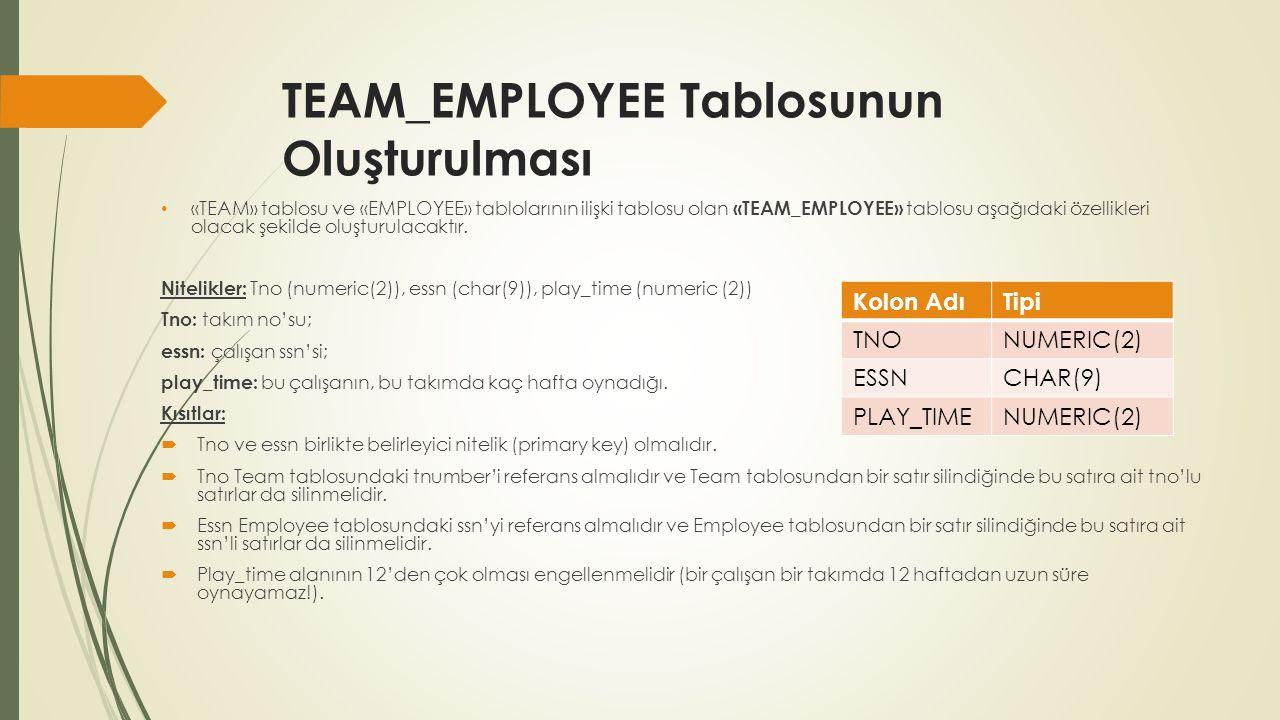 Cevap CREATE TABLE TEAM_EMPLOYEE ( TNO NUMERIC(2), ESSN CHAR(9), PLAY_TIME NUMERIC(2), CONSTRAINT PK_TEAM_EMP PRIMARY KEY(TNO,ESSN), *Tno ve Essn Primary key olarak tanımlandı.
