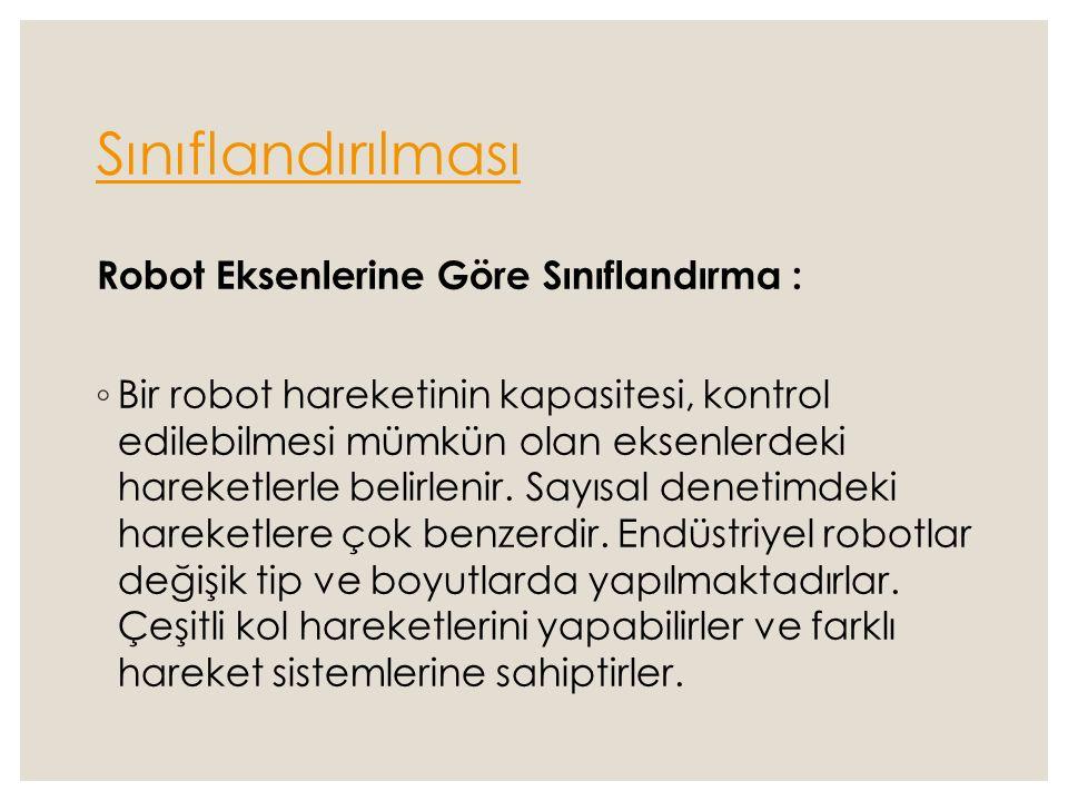Sınıflandırılması Robot Eksenlerine Göre Sınıflandırma : ◦ Bir robot hareketinin kapasitesi, kontrol edilebilmesi mümkün olan eksenlerdeki hareketlerl