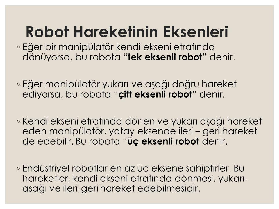 """Robot Hareketinin Eksenleri ◦ Eğer bir manipülatör kendi ekseni etrafında dönüyorsa, bu robota """" tek eksenli robot """" denir. ◦ Eğer manipülatör yukarı"""
