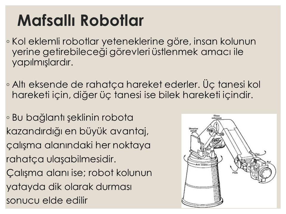 Mafsallı Robotlar ◦ Kol eklemli robotlar yeteneklerine göre, insan kolunun yerine getirebileceği görevleri üstlenmek amacı ile yapılmışlardır. ◦ Altı