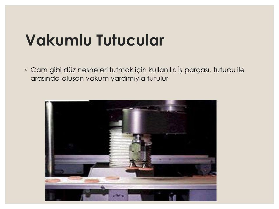 Vakumlu Tutucular ◦ Cam gibi düz nesneleri tutmak için kullanılır. İş parçası, tutucu ile arasında oluşan vakum yardımıyla tutulur