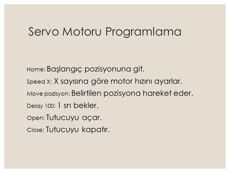 Servo Motoru Programlama Home: Başlangıç pozisyonuna git. Speed X: X sayısına göre motor hızını ayarlar. Move pozisyon: Belirtilen pozisyona hareket e