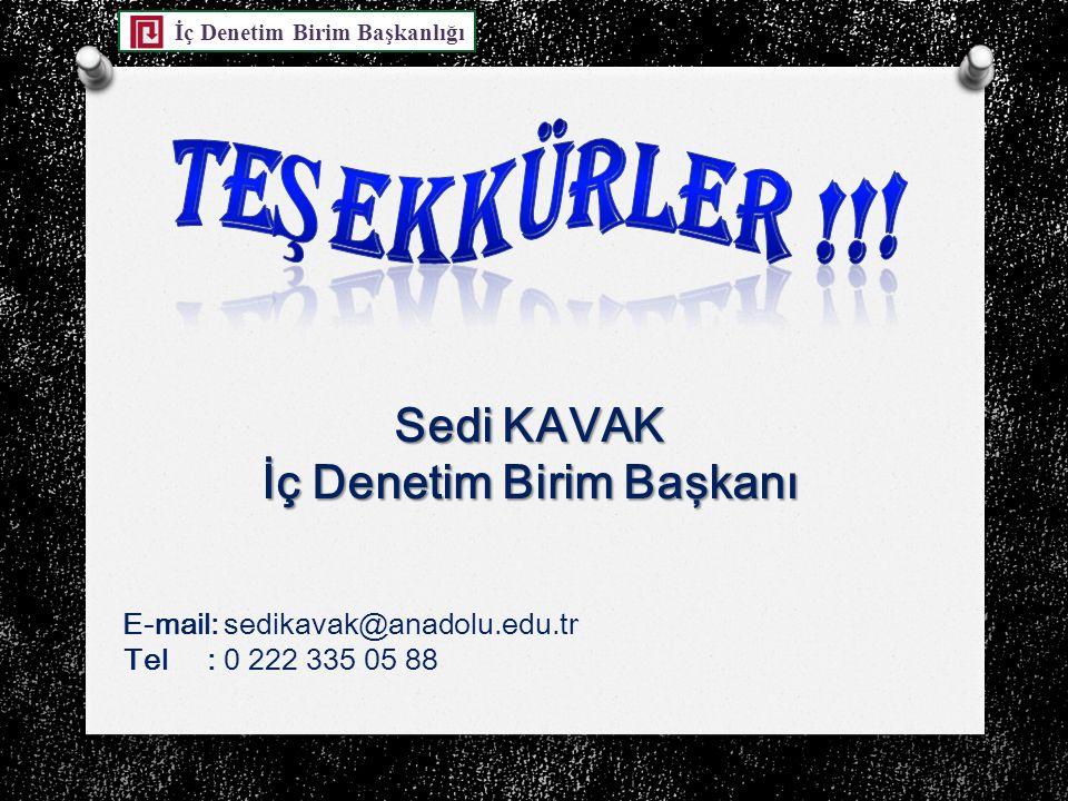 İç Denetim Birim Başkanlığı Sedi KAVAK İç Denetim Birim Başkanı E-mail: sedikavak@anadolu.edu.tr Tel : 0 222 335 05 88
