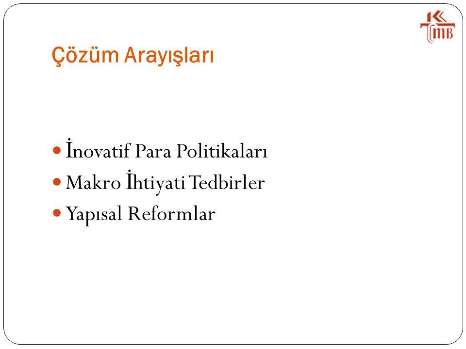 Çözüm Arayışları İ novatif Para Politikaları Makro İ htiyati Tedbirler Yapısal Reformlar
