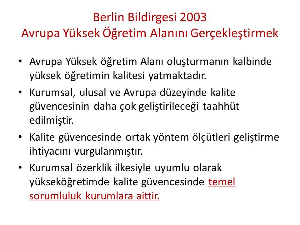 Berlin Bildirgesi 2003 Avrupa Yüksek Öğretim Alanını Gerçekleştirmek Avrupa Yüksek öğretim Alanı oluşturmanın kalbinde yüksek öğretimin kalitesi yatmaktadır.