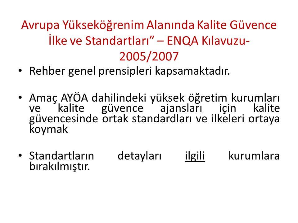 Avrupa Standardları ve İlkeleri nedir.