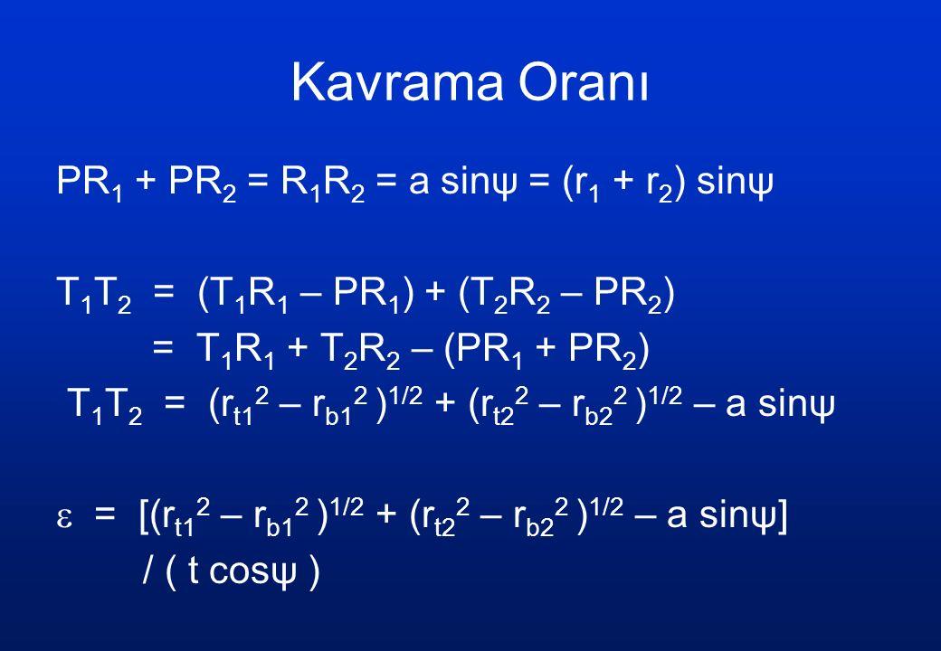 Kavrama Oranı PR 1 + PR 2 = R 1 R 2 = a sinψ = (r 1 + r 2 ) sinψ T 1 T 2 = (T 1 R 1 – PR 1 ) + (T 2 R 2 – PR 2 ) = T 1 R 1 + T 2 R 2 – (PR 1 + PR 2 ) T 1 T 2 = (r t1 2 – r b1 2 ) 1/2 + (r t2 2 – r b2 2 ) 1/2 – a sinψ  = [(r t1 2 – r b1 2 ) 1/2 + (r t2 2 – r b2 2 ) 1/2 – a sinψ] / ( t cosψ )