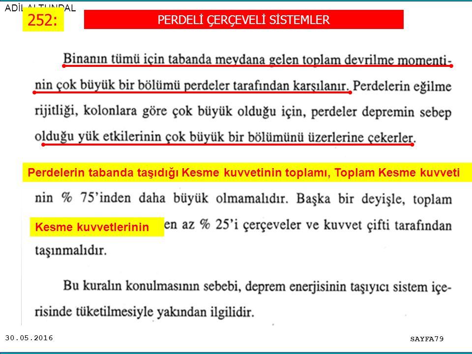 30.05.2016 ADİL ALTUNDAL SAYFA79 252: PERDELİ ÇERÇEVELİ SİSTEMLER Kesme kuvvetlerinin Perdelerin tabanda taşıdığı Kesme kuvvetinin toplamı, Toplam Kes