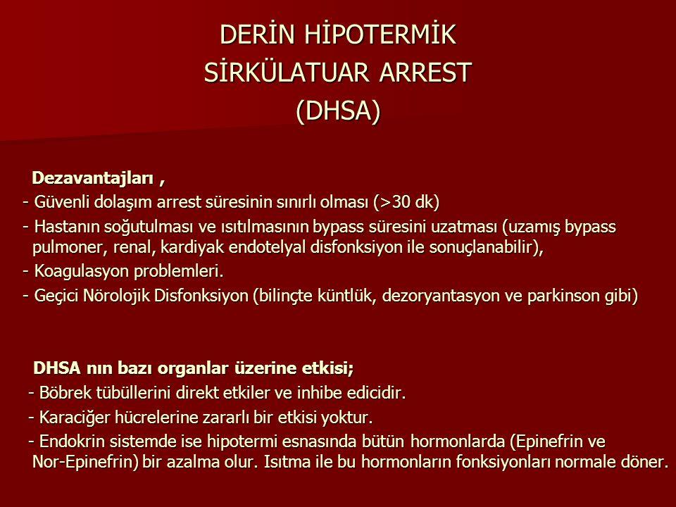 DERİN HİPOTERMİK SİRKÜLATUAR ARREST (DHSA) Dezavantajları, Dezavantajları, - Güvenli dolaşım arrest süresinin sınırlı olması (>30 dk) - Güvenli dolaşı