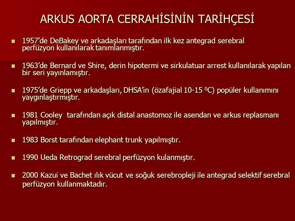 ARKUS AORTA CERRAHİSİNİN TARİHÇESİ 1957'de DeBakey ve arkadaşları tarafından ilk kez antegrad serebral perfüzyon kullanılarak tanımlanmıştır. 1957'de