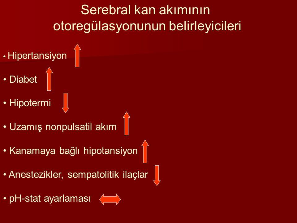Serebral kan akımının otoregülasyonunun belirleyicileri Hipertansiyon Diabet Hipotermi Uzamış nonpulsatil akım Kanamaya bağlı hipotansiyon Anestezikle