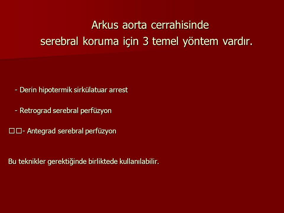 Arkus aorta cerrahisinde Arkus aorta cerrahisinde serebral koruma için 3 temel yöntem vardır. serebral koruma için 3 temel yöntem vardır. - Derin hipo