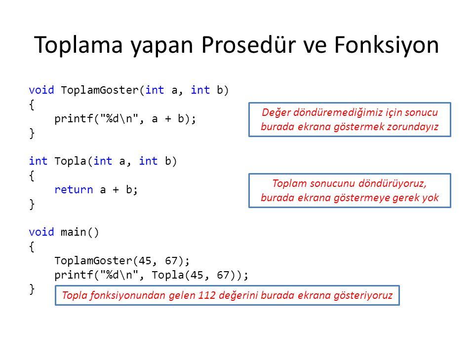 Toplama yapan Prosedür ve Fonksiyon void ToplamGoster(int a, int b) { printf( %d\n , a + b); } int Topla(int a, int b) { return a + b; } void main() { ToplamGoster(45, 67); printf( %d\n , Topla(45, 67)); } Değer döndüremediğimiz için sonucu burada ekrana göstermek zorundayız Toplam sonucunu döndürüyoruz, burada ekrana göstermeye gerek yok Topla fonksiyonundan gelen 112 değerini burada ekrana gösteriyoruz