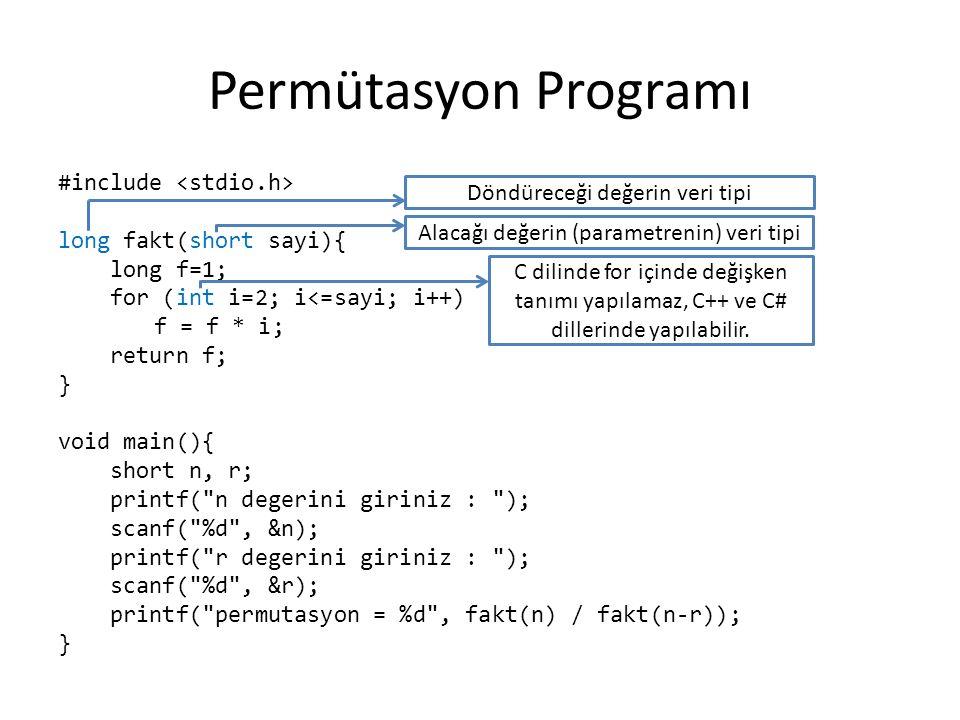 Permütasyonu Hızlı Hesaplamak Permütasyon hesabı yaparken, faktöriyel fonksiyonunu 2 defa çağırmak yerine, faktöriyel için kurulan for döngüsünü 1 yerine (n-r)+1 değerinden başlatan yeni bir fonksiyon yazmak daha uygundur.