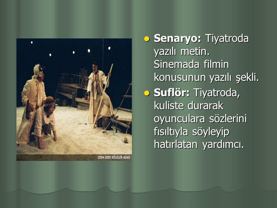 Sahne:Tiyatro sahnesi. Tiyatro eserinde bir perdelik bölümün, dekor bakımından değişik olan küçük kısımları.Bir perdelik bölüm içinde, kişilerin girip