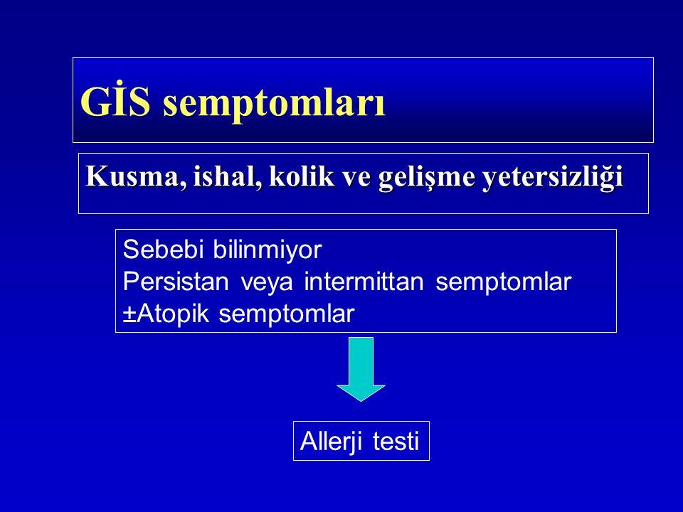 Kusma, ishal, kolik ve gelişme yetersizliği GİS semptomları Sebebi bilinmiyor Persistan veya intermittan semptomlar ±Atopik semptomlar Allerji testi