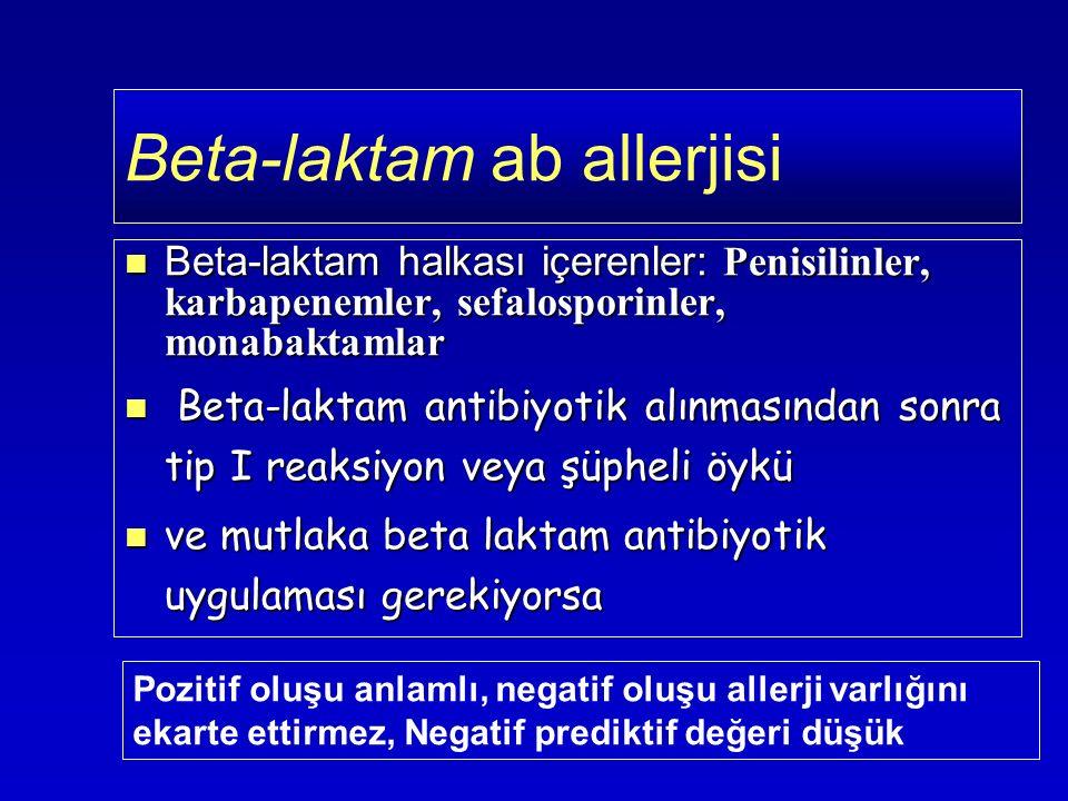 Beta-laktam halkası içerenler: Penisilinler, karbapenemler, sefalosporinler, monabaktamlar Beta-laktam halkası içerenler: Penisilinler, karbapenemler, sefalosporinler, monabaktamlar Beta-laktam antibiyotik alınmasından sonra tip I reaksiyon veya şüpheli öykü Beta-laktam antibiyotik alınmasından sonra tip I reaksiyon veya şüpheli öykü ve mutlaka beta laktam antibiyotik uygulaması gerekiyorsa ve mutlaka beta laktam antibiyotik uygulaması gerekiyorsa Beta-laktam ab allerjisi Pozitif oluşu anlamlı, negatif oluşu allerji varlığını ekarte ettirmez, Negatif prediktif değeri düşük