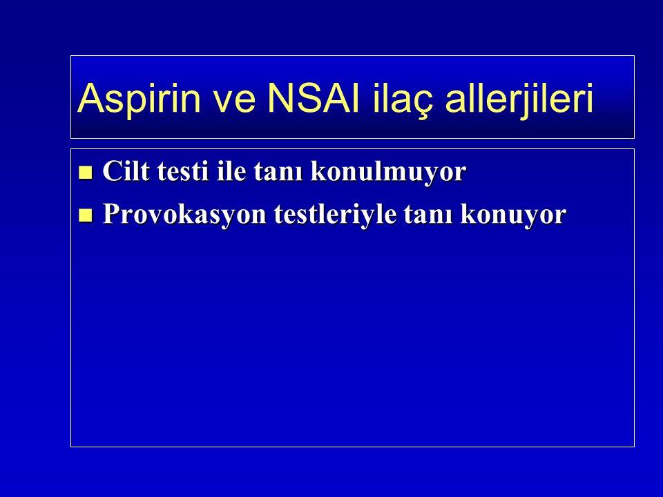 Cilt testi ile tanı konulmuyor Cilt testi ile tanı konulmuyor Provokasyon testleriyle tanı konuyor Provokasyon testleriyle tanı konuyor Aspirin ve NSAI ilaç allerjileri