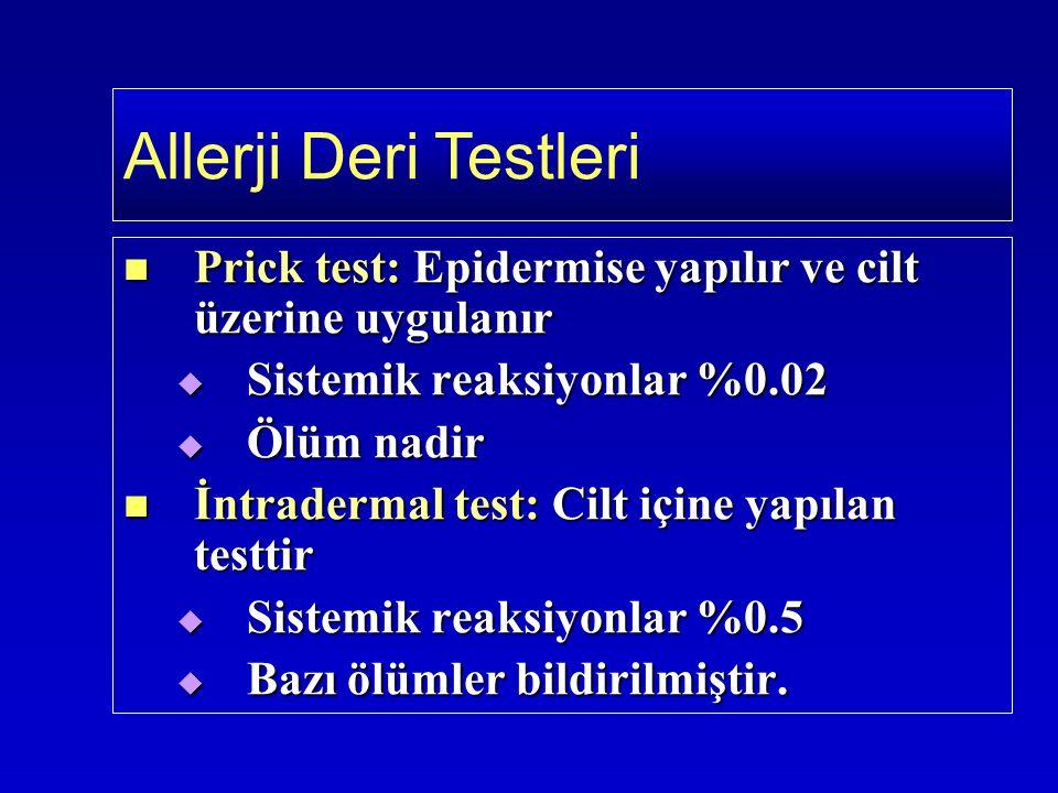 Prick test: Epidermise yapılır ve cilt üzerine uygulanır Prick test: Epidermise yapılır ve cilt üzerine uygulanır  Sistemik reaksiyonlar %0.02  Ölüm nadir İntradermal test: Cilt içine yapılan testtir İntradermal test: Cilt içine yapılan testtir  Sistemik reaksiyonlar %0.5  Bazı ölümler bildirilmiştir.