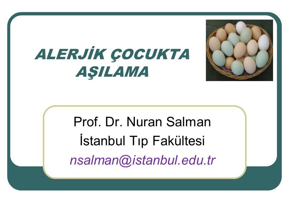 AŞILARIN İÇERDİĞİ YUMURTA PROTEİN MİKTARI İnaktif (IM) ve attenüe intranasal influenza aşılarında tavuk embriyosundan gelen mikrogram düzeyinde yumurta proteini vardır Sarıhumma aşısında da mikrogram düzeyinde yumurta proteini var Kızamık-kızamıkçık-kabakulak aşılarında daha düşük düzeyde (picogram-nanogram) ovalbumin vardır.