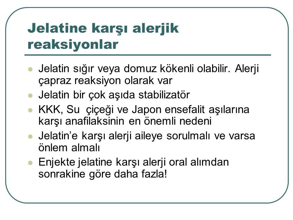 Jelatine karşı alerjik reaksiyonlar Jelatin sığır veya domuz kökenli olabilir. Alerji çapraz reaksiyon olarak var Jelatin bir çok aşıda stabilizatör K