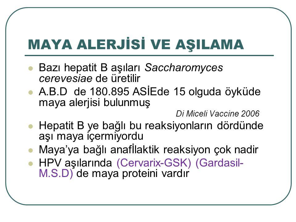 MAYA ALERJİSİ VE AŞILAMA Bazı hepatit B aşıları Saccharomyces cerevesiae de üretilir A.B.D de 180.895 ASİEde 15 olguda öyküde maya alerjisi bulunmuş D