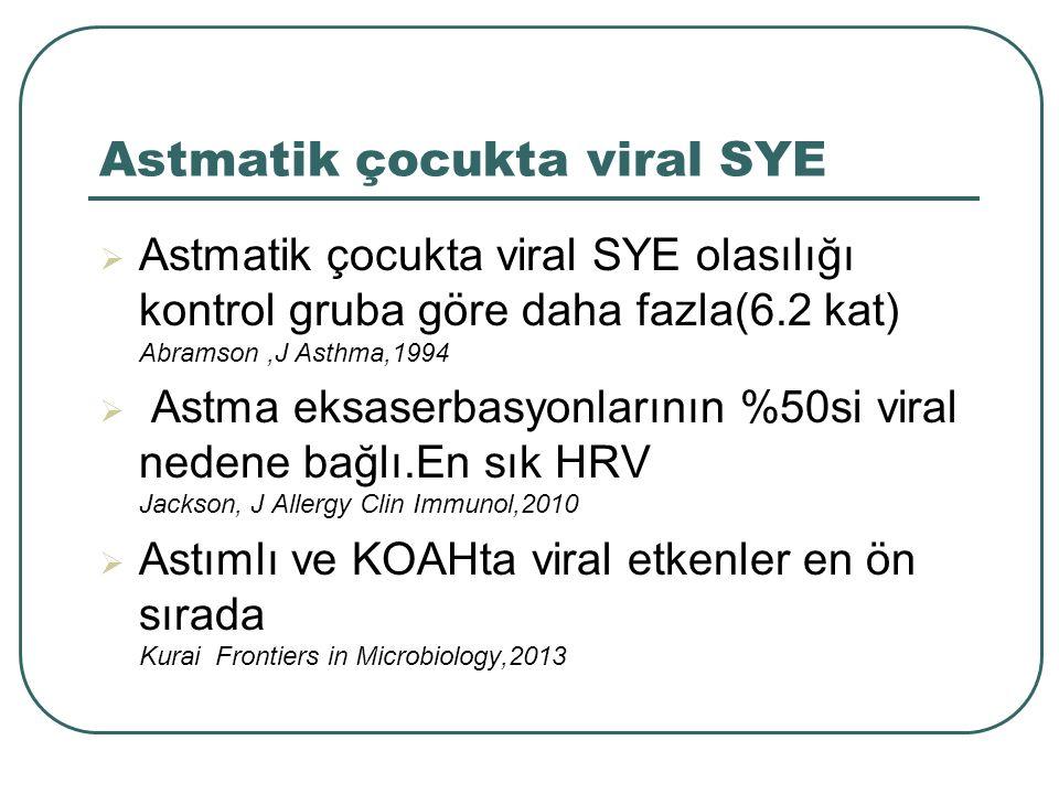 Astmatik çocukta viral SYE  Astmatik çocukta viral SYE olasılığı kontrol gruba göre daha fazla(6.2 kat) Abramson,J Asthma,1994  Astma eksaserbasyonl