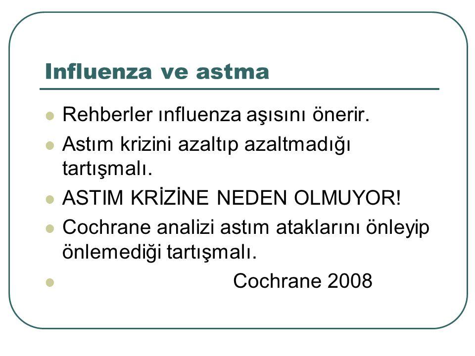 Influenza ve astma Rehberler ınfluenza aşısını önerir. Astım krizini azaltıp azaltmadığı tartışmalı. ASTIM KRİZİNE NEDEN OLMUYOR! Cochrane analizi ast