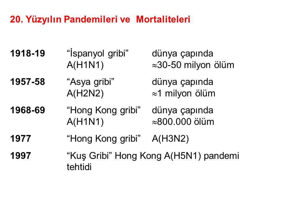 """20. Yüzyılın Pandemileri ve Mortaliteleri 1918-19""""İspanyol gribi""""dünya çapında A(H1N1)  30-50 milyon ölüm 1957-58""""Asya gribi""""dünya çapında A(H2N2) """