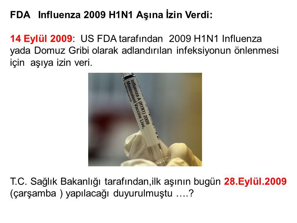 FDA Influenza 2009 H1N1 Aşına İzin Verdi: 14 Eylül 2009: US FDA tarafından 2009 H1N1 Influenza yada Domuz Gribi olarak adlandırılan infeksiyonun önlen