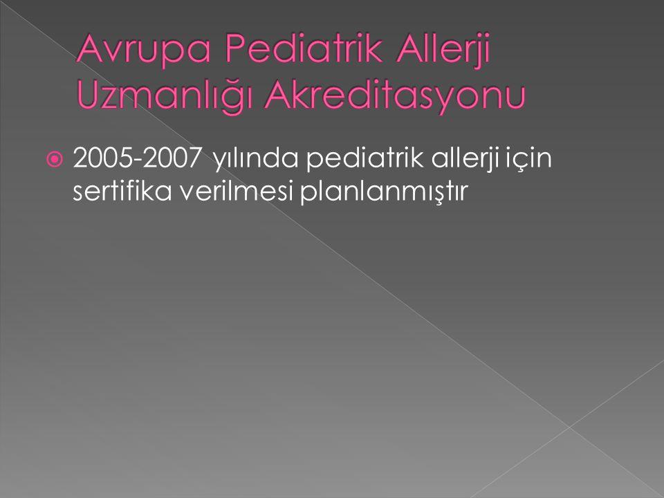  2005-2007 yılında pediatrik allerji için sertifika verilmesi planlanmıştır