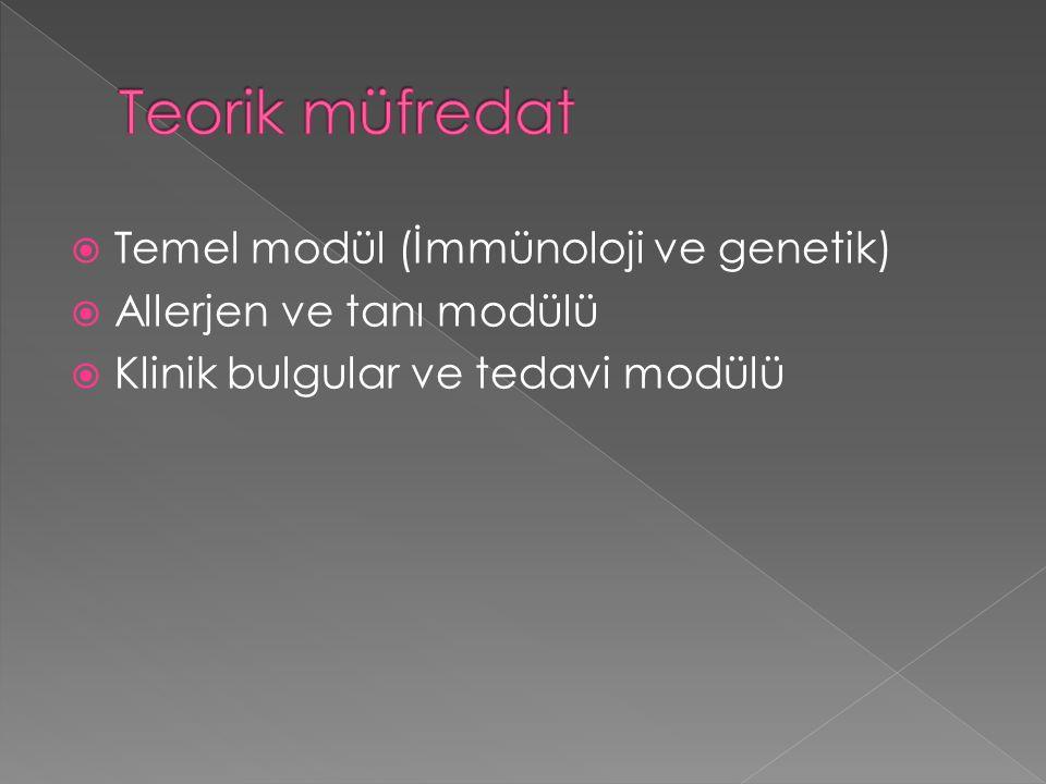  Temel modül (İmmünoloji ve genetik)  Allerjen ve tanı modülü  Klinik bulgular ve tedavi modülü